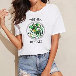 Discount wholesale game thrones gifts - Mother of Cats T Shirt Floral GOT TShirt Funny Mother's Day Gift Ideas House Targaryen T Shirt Mother of Dragons Ga