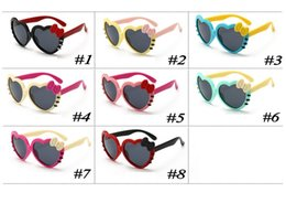 eec62995bae9f Heart Shaped Sun Glasses for Children Kids Full Frame Sunglasses Girls Baby  Bowknot Cat Eye Shades Goggles Eyewear