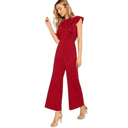 plus size waist trimmers UK - Women Sexy Casual Sleeveless Ruffles Trim Wide Leg High Waist Long Jumpsuit Plus Size Rompers Beach Bodysuit Overalls For Ladies