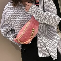 Wholesale Pillow Packs Australia - Quilted Chain Waist Pack For Women 2019 Fashion Small PU Leather Funny Packs Ladies Waist Bags Female Phone Belt Bags