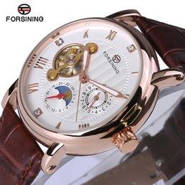 Discount top case mens watches - Forsining Fashion Luxury Series Design Rose Golden Case Mens Watches Top Brand Luxury Tourbillion Diamond Display Automa