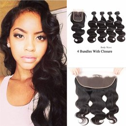 body deep wave closure Canada - 9A Brazilian Body Deep Wave 4 Bundles With Closure Peruvian Virgin Human Hair Extensions Human Hair Bundles With 13X4 Lace Frontal Straight