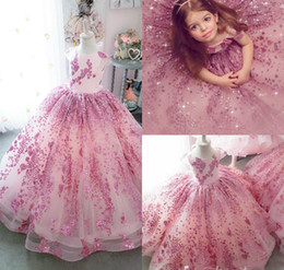 Lace girLs toddLer pageant dresses online shopping - Bling Bling Little Girls Pageant Dresses Lace Sequins Cap Sleeve Ball Gown Flower Girl Dress For Wedding Kids Formal Birthday Party Gowns