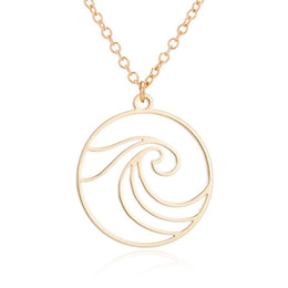 "Celtic Stainless Steel Wholesalers Australia - ""Stainless Steel Pendant Brass Chain Necklace Charm Women Choker Jewelry Collier Contracted Cute waves in circle Necklaces NYX-21"""