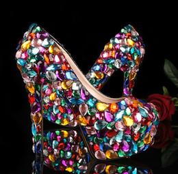$enCountryForm.capitalKeyWord NZ - 2019 Nicest Crystal Glitter Multicolor Wedding Shoes High Heel Evening Shoes Ladies Platform dance Dress Shoes for Woman