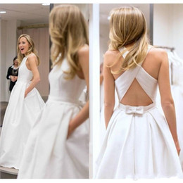 $enCountryForm.capitalKeyWord Australia - Elegant White Wedding Dresses with Pockets Criss Cross Back Satin 2019 Custom Made Bridal Gowns Custom Made