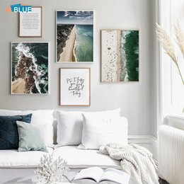 painting sea ocean Australia - Scandinavian Sea Beach Canvas Poster Nordic Landscape Print Nature Wall Art Ocean Painting Wall Pictures For Living Room Decor
