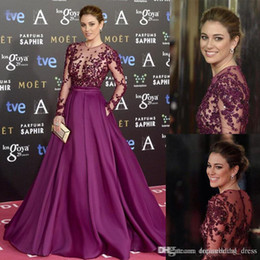 $enCountryForm.capitalKeyWord Australia - Grape Zuhair Murad Celebrity Evening Dresses Sheer Long Sleeves Lace Beaded Long Custom Made 2018 Prom Special Occasion Gowns Cheap