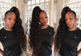 body wave ponytails 2019 - 150g Loose wavy human hair drawstring pony clip in African american deep body wave ponytail hair extension cheap body wa