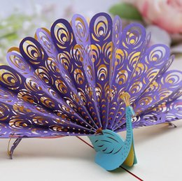 Origami Invitation Cards Australia - Hollow Peacock Handmade Kirigami Origami 3D Pop UP Greeting Cards Invitation Of Wedding Postcard For Birthday Wedding Party Gift wang