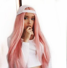 $enCountryForm.capitalKeyWord Australia - Sexy Long Straight Lace Front Wigs Pink Natural Heat Resistant Synthetic Hair Free Part Half Hand Tied Glueless Wig for Cosplay Daily Wear