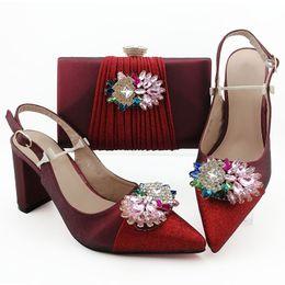 $enCountryForm.capitalKeyWord NZ - Most popular wine women dress shoes with big crystal decoration african pumps match handbag set QSL010,heel 9CM