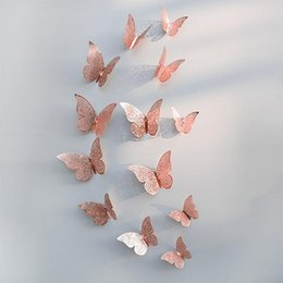 3d rose wall sticker Australia - 12pcs Beautiful Rose Gold Silver Wall Stickers 3D Hollow Butterfly Wall Decal For Wedding Birthday Party Home Room Decoration