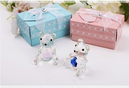 wedding crystal souvenirs favors UK - Crystal Crafts Christening Gifts Baby Shower Souvenirs Favors Pink Blue Crystal Teddy Bear Favors Figurine W9041
