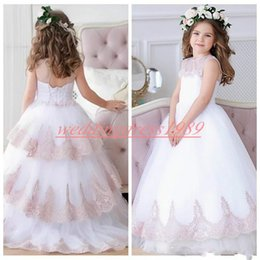 Red White Blue Tutus Australia - Beautiful White Flower Girls' Dresses Tiers Crew Lace A-Line Tulle Girls Birthday Formal Gowns First Communion Dresses Kids Tutu Pageant