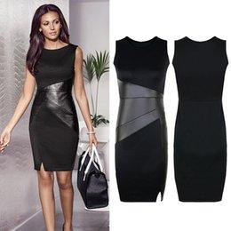 af73a9aeb9 Women Bodycon Summer Dress 2019 Fashion Ladies OL Pencil Dress Faux Leather  Splice Sleeveless Elegant Office Workwear Plus Size