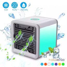 $enCountryForm.capitalKeyWord Australia - Mini Portable USB Air Conditioner Humidifier Purifier 7 Colors Light Desktop Air Cooling Fan Air Cooler Fan for Office Home Desk Cube fan
