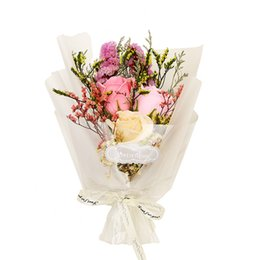 Stockings Box Australia - Ready Stock Scented Soap Rose Flower Dried Flower for Lovers Flower Bouquet with Gix Box Anniversary Birthday Gift