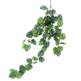 fake vines decoration UK - 5 Strings Real Touch Plastic Artificial Palm Tree Leaves Vine Coating Monstera Leaf Fake Plants for Home Wedding Decoration