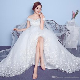 $enCountryForm.capitalKeyWord Australia - White A Line Wedding Dresses With Off Shoulder Sequin Beaded Back Lace Up Sweep Train Lace Applique Sparkling Bridal Gown