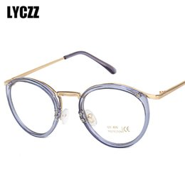 7d942eda42b0 LYCZZ Retro Transparent Plain Mirror Glasses Frame For Female Cute Round  High Quality Myopia Frames Unisex Eyewear Brand Design