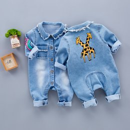 ccffd2d59 Spring Baby Toddler Long Sleeve Lapel Collar Denim Jeans Giraffe Rainbow  Pattern Rompers Kids Infant Jumpsuits Roupas De Bebe Y19050602