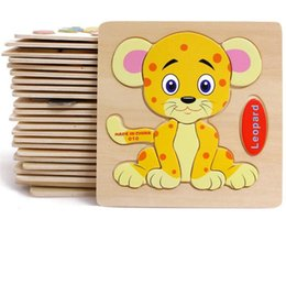 Chinese  Baby 3D Wooden Puzzles Educational Toys For Child Building Blocks Wood Toy Jigsaw Craft Animals Free Shipping manufacturers