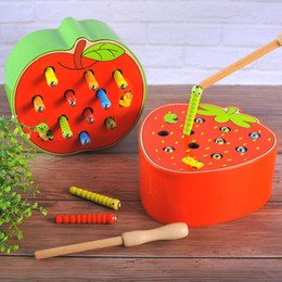 fruit toy puzzles Australia - 3D Puzzles Jigsaw Education Children Wooden Model Toys Fruit Vegetables Learning Puzzle Magnetic Baby Catch Insects Worm Game