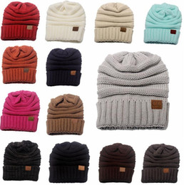 f0f4ecbfc5b wholesale Luxury Women Men Winter Knitted Wool CC Hats Caps Label Warm  Skullies Beanies Unisex Adult Casual Hat Sport Casual Cap 13 Colors
