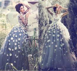$enCountryForm.capitalKeyWord NZ - Cinderella Dust Grey Arabic Ball Gown Prom Dresses Long Sleeve 3D Flower Appliqued Charming 2019 Custom Made Quinceanera Ball Evening Gowns