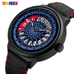 hollow watches men Australia - SKMEI Creative Quartz Watches Mens Hollow Rotating Dial Fashion Wristwatches Men Waterproof Shockproof Hour reloj hombre 9217