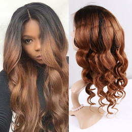 $enCountryForm.capitalKeyWord Australia - Brazilian human hair Ombre color brown full lace hair wig for women with baby hair lace front wig natural hairline can be dyed