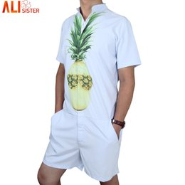 0594d97012d9 Pineapple Clothing Australia - Pineapple Print Men s Rompers Short Sleeve  Jumpsuit Romper Hoiday Playsuit Overalls One