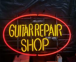 Bar Guitar NZ - GUITAR REPAIR SHOP Neon Sign Light Advertising Bar Entertainment Club Decoration Art Display Glass Lamp Metal Frame 17'' 24'' 30''40''
