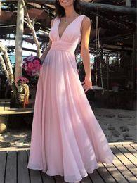 $enCountryForm.capitalKeyWord Australia - Beautiful Pink Prom Dresses 2019 Chiffon V-neck Pleated A Line Sleeveless Elegant Simple Girls Prom Party Gowns for Women robe de bal gala
