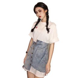 New T Shirt Mini Skirt Australia - 2019 Summer New Women Letter Print Long T-Shirt Dress+Irregular Single Breasted Denim Mini Skirt Two Piece Sets Retro Sets J116