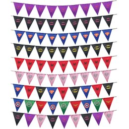Wholesale Superhero Party Decorations Australia - 9 style Superhero Pennant Superman Batman Spiderman Burgee Banner Flag Masquerade Halloween Christmas Birthday Home Decoration Party favors