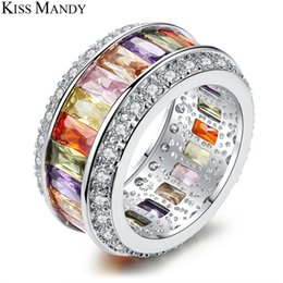 Square Geometric Ring Australia - KISS MANDY Copper Geometric Silver Rainbow Square Natural Stone Rings For Women Engagement Handmade Jewelry Accessories KPR50