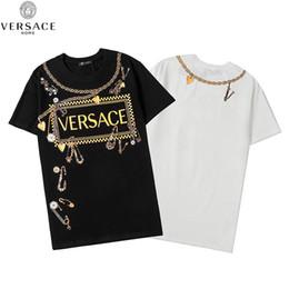 Vente en gros Versace Hommes desgner T-shirts d'été T-shirt d'impression desgner T-shirt Hip Hop Hommes Femmes manches courtes T-shirts Taille S-XXL # 715625
