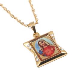 $enCountryForm.capitalKeyWord Australia - Lucky Enamel Blessed Virgin Mary Pendant Necklaces Chain Women Girls Christianity Jewelry