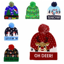 ChurCh deCorations online shopping - Fashion Accessories Led Light Cotton Christmas Hat Knit Up Beanie Hat Kids Adult Children Cap Christmas Party Decoration New Year Gifts
