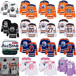 0928cc58b11 Custom Men Women Edmonton Oilers 97 Connor McDavid 99 Wayne Gretzky 29 Leon  Draisaitl 27 Milan Lucic 93 Nugent-Hopkins Youth Hockey Jerseys