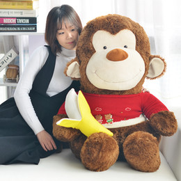 Wholesale monkey cartoon mascot online – ideas quality soft cartoon monkey plush toy giant cute banana monkey dolls mascot pillow for girl valentine gift cm DY50802