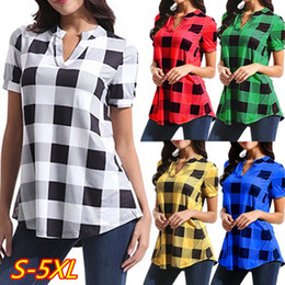 Best Wholesale T Shirts NZ - Women Plaid Blouse Short Sleeve V-neck T Shirt Loose Grid T-shirt Tops Oversized Pullover Shirts Casual Ladies Blouses Tees Summer BEST