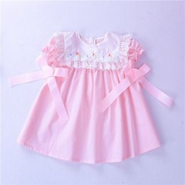 boutique girl summer outfit NZ - Baby Girl Summer Dress Pink Embroidery Flower Kids Dresses For Girl's Clothing Boutiques Fashion Infant Baby Outfit School J190506