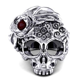 Punk Rings UK - Men's and Women's 316L Punk Stainless Steel Ring Gothic Style Jewelry Skull Bike Skull Sugar Flower Ring Size 6-13