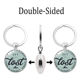 Keychain Key Ring Crystal Australia - 2019 new fashion necklace cross-border new accessories mountaineering enthusiasts time gem double-sided keychain utility metal key ring pend