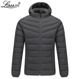heated jackets NZ - LOMAIYI Men's Winter Down Jacket Men USB Heated Coat With Hat Male Heating Parka Mens Hooded Jackets Warm Windbreaker BM287