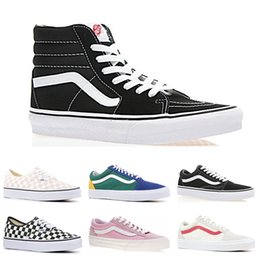 77dcc1d5b3 New Cheap Brand Vans old skool fear of god men women canvas sneakers classic  black white YACHT CLUB Color matching skate casual shoes