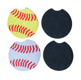 Pads for coaster mats online shopping - Baseball softball design Neoprene Car Coasters Car Cup Holder Coasters for Car Cup Mugs Mat Pad Contrast Home Decor Accessories in stock